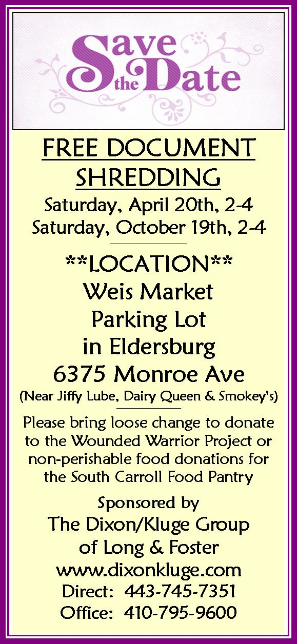 Free Community Shred Events | Kathy Dixon | Long & Foster